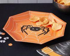 Arancione di Halloween piatti di carta festa - Spider e piastre di ragnatele, decorazioni di Halloween, Halloween Party stoviglie, piatti di carta, confezione da 8
