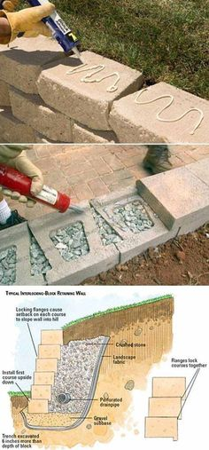 20 Inspiring Tips for Building a DIY Retaining Wall – All you need are some cement blocks and the strength to stack them! These cement blocks will provide a nice finished look 20 Inspiring Tips for Buildin Diy Retaining Wall, Building A Retaining Wall, Landscaping Retaining Walls, Backyard Landscaping, Retaining Wall Drainage, Retaining Wall Design, Diy Landscaping Ideas, Landscaping Costs, Landscaping Blocks