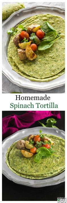 Homemade spinach tortillas are so much better than the store bought stuff! Use them to make burritos, wraps and much more! #vegan Find the recipe on www.cookwithmanali.com