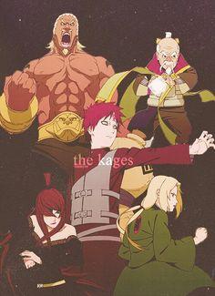 Gaara the Kazekage, Mei the Mizukage, Tsunade the Hokage, A the Raikage, Ohnoki the Tsuchikage