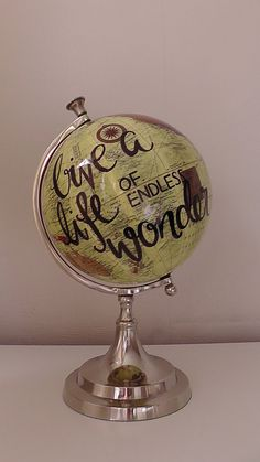 Check out this item in my Etsy shop https://www.etsy.com/uk/listing/251570606/hand-painted-globe-custom-unique-designs