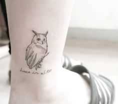 Linework owl tattoo on ankle by Chaewa