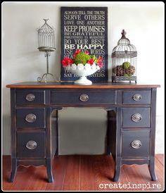 {createinspire}: Refinished Antique Black Desk