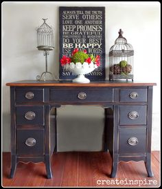 {createinspire}:  Antique Black Desk with painted top and stained edge