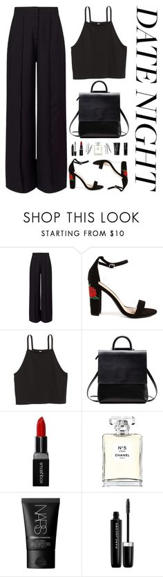 """Lady in Black"" by blxckbird ❤ liked on Polyvore featuring Miss Selfridge, H&M, BOBBY, Smashbox, Chanel, NARS Cosmetics, Marc Jacobs, Bobbi Brown Cosmetics and summerdatenight"