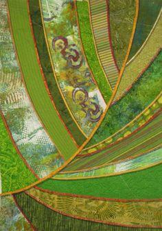 Ellen Lindner creating a leaf quilt.