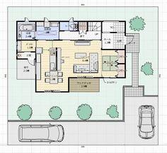 間取り成功例40坪 横並びキッチンの家事と子育てを楽しむ家 | アトリエコジマ~注文住宅理想の間取り作りと失敗しないアイデア・実例集~ Floor Plans, Flooring, How To Plan, Architecture, Interior, House, Image, Arquitetura, Indoor