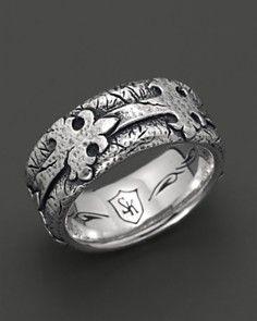 Scott Kay Men's Sterling Silver Distressed Fleur de Lis Band Ring