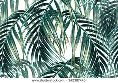 Tropical palm leaves pattern Graphics Beautiful seamless vector floral pattern background with tropical palm Illustrator by Tropicana Pencil Illustration, Watercolor Illustration, Digital Illustration, Graphic Patterns, Cool Patterns, Graphic Design, Hibiscus, Tropical Pattern, Tropical Leaves