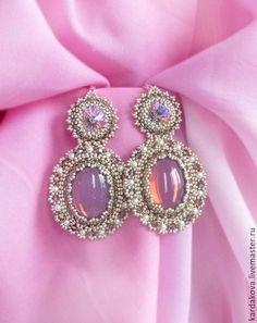 "Серьги ручной работы. Ярмарка Мастеров - ручная работа Серьги ""Лиловые сны..."". Handmade. Soutache Jewelry, Seed Bead Jewelry, Bead Earrings, Beaded Jewelry, Handmade Jewelry, Beaded Bracelets, Jewellery, Beads And Wire, Bead Weaving"