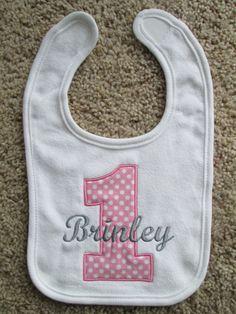 Personalized Birthday Bib 1st birthday girl boy. by babymodern, $14.50