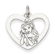 Sterling Silver Disney Beauty and the Beast Belle Heart Charm -- Check out the image by visiting the link.