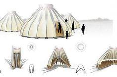 L'abri pliable peut, grâce à une ingénieuse articulation, se déployer en quelques minutes et se transporter facilement. Temporary Architecture, Interior Architecture, Folding Structure, Homeless Housing, Shelter Design, Tent Design, Industrial Design Sketch, Dome House, Geodesic Dome