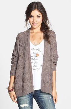 Cotton Emporium Oversized Pointelle Cardigan (Juniors) available at Cute Sweaters, Going Out, Sweater Cardigan, Nordstrom, Fashion Outfits, My Style, Envy, Cotton, Layers