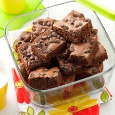 """Speedy Brownies: Since you """"dump"""" all the ingredients together for these brownies, they take very little time to prepare. There's no mistaking the homemade goodness of a freshly baked batch-they are rich and fudgy!"""