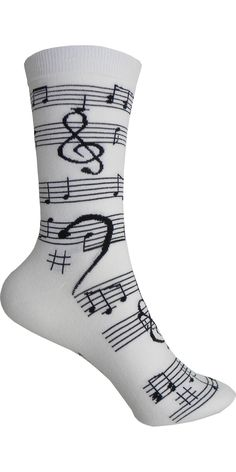 Music Notes Crew in White and Black
