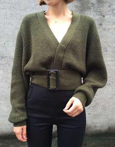 Stylish Belted Olive V Knit ~