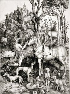 Dürer has his main figure in a similar pose in his Saint Eustache.  Saint Eustache is the patron saint of hunters and is often represented praying to a deer. The deer usually has a crucifix between its antlers, as it does here. In this print the foreshortening a bit awkward. At first glance it looks like Eustanche is praying to his horse.
