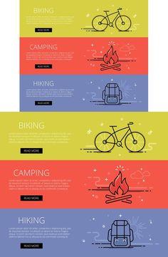 Outdoor line vector web banners set