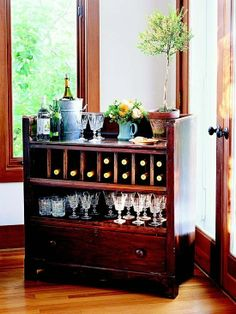 Turning Dressers into Other Things | Great idea! Recycle antique dresser into a mini bar. by ... | Whoa..