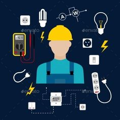Professional Electrician With Electric Tools by seamartini Professional electrician concept with electric man in yellow hard hat with electrical household supplies, electric tools and equip