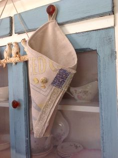 Rustic vintage seed sack herb cone rustic decor by PillowsBeyond
