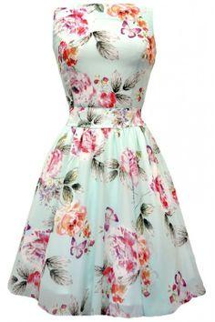 Lady Vintage Cool Mint Floral Chiffon Tea Dress : Lady Vintage Jurken - Retro en Vintage kleding online | Looks Like Vintage