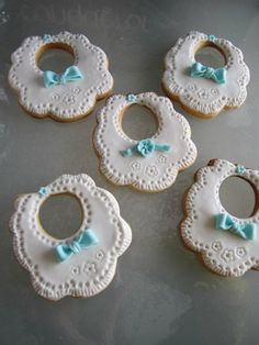 Baby bibs cookies~        The dessert lover, white, Blue bow