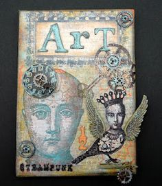 CREATIVITY IS CONTAGIOUS  This 5x7 canvas was covered with gesso then inked and stamped. The large phrenology head was stamped in orange and then blue (separately) onto white tissue paper and then added to the canvas in layers and sealed with matte multi medium. Tim Holtz' Ideaology metal pieces and Mixed Mini Grungeboard letters were added.