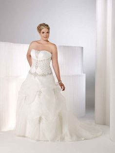 Strapless satin faced organza wedding dress