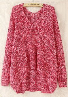 Red Plain V-neck Bat Sleeve Wool Blend Sweater