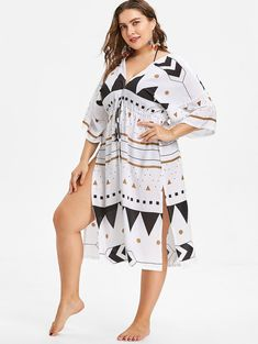 a2d3ee317f0a5 Drawstring Waist Plus Size Printed Cover Up - Bikini Pattern