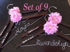 Set of 9---Personalized Hanger,  Custom Bridal Hangers,Bridesmaids gift, Quinceanera dress,Wedding hangers with names,Custom made hangers