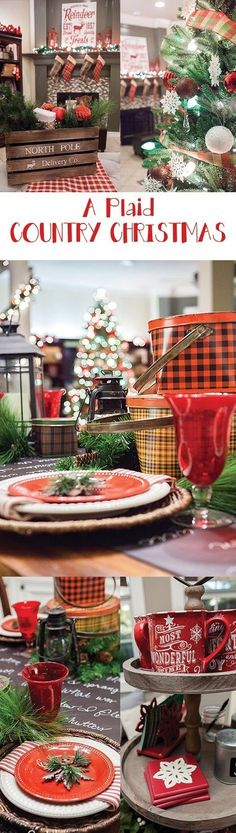 A truly stunning Christmas Home Tour as part of the Christmas in the Country Blog Tour. This Plaid Inspired Country Christmas will knock your socks off. Features tours of the Living room, Dining Room and a Cocoa hot chocolate bar in the Breakfast room. There is so much inspiration for Christmas decorations in this one post. Be prepared to feel like you are cuddled up by the fire in a warm Northwoods comfy cottage! #country #Christmas #Plaid #Holiday decorating #Holiday ideas #Holidays…