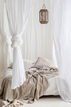 White sheer linen curtains, White canopy made of linen muslin, Perfect white linen drapes - Perfect white sheer curtains, White canopy made of linen muslin by LUMIOstudio on Etsy -