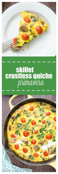 Skillet Crustless Quiche Primavera is a lightened up quiche made in only one skillet! It's light, delicious, and packed with spring veggies! @FlavortheMoment
