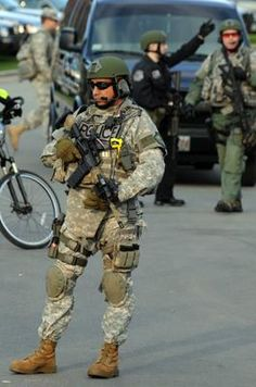 A military police officer stood guard at a staging area located at the Boston Common.