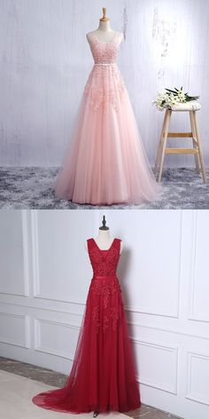 Custom Made Pink V Neck Prom Dress,Backless Tulle Formal Gown With Lace Appliques