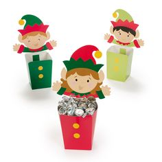 """Place holiday goodies in these happy Christmas Elf containers and tell your friends it's """"Elf Serve."""""""