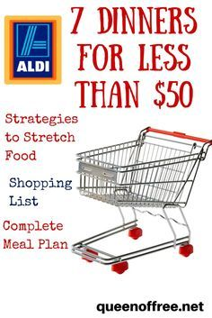 Check out this ALDI Meal Plan which allows you to make 7 dinners for a family of 4 for under 50 Budget Meal Planning, Cooking On A Budget, Food Budget, Bulk Cooking, Family Meal Planning, Budget Weekly Meal Plan, Cooking Tips, College Cooking, Cooking Lamb