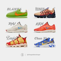 o here are the 6 shoes of the Nike x Street Fighter II Turbo pack that I made, which one is your favorite ? Street Fighter Ii Turbo, Which One Are You, Your Favorite, Nike Air Max, Sneakers, Collaboration, Concept, Shape, Collection