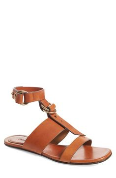 Free shipping and returns on Chloé Kingsley Ankle Strap Sandal (Women) at Nordstrom.com. Pre-order this style today! Add to Shopping Bag to view approximate ship date. You'll be charged only when your item ships.Modern minimalism at its best, this calfskin leather sandal flaunts a simple ankle strap, goldtone-ring hardware and flat-soled design.