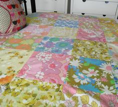 Mod ~ patchwork quilt made from vintage sheets