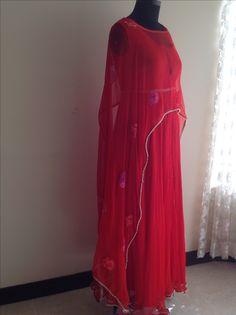Red pure chiffon cape dress