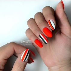 Red Nail Design With White And Black Stripes. Whether long or short, red nails are fabulous, bright and classic at the same time. Shiny or matte, a blood hue works great for coffin, almond nails. Matte Nails, Pink Nails, Acrylic Nails, Bright Red Nails, Coffin Nails, French Nails, Red Nail Designs, Striped Nail Designs, Striped Nails