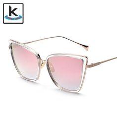 Cat Eye Sunglasses Square Alloy Frame Glasses