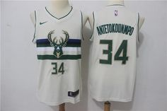Men 34 Giannis Antetokounmpo Jersey Milwaukee Bucks Cream Player 12c6c7103