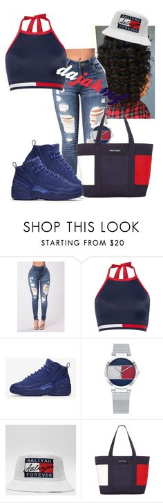 """ask tommy hilfiger it out"" by dajahmf ❤ liked on Polyvore featuring Tommy Hilfiger and NIKE"
