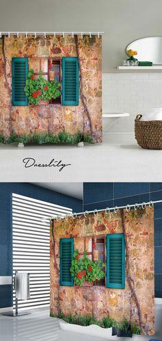 Retro House Window Print Bathroom Shower Curtain
