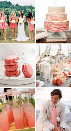 Love the idea of using coral as a accent color for a wedding. So flattering for bridesmaid dresses and looks gorgeous incorporated into floral arrangements, the cake design and even dessert bar macaroons!